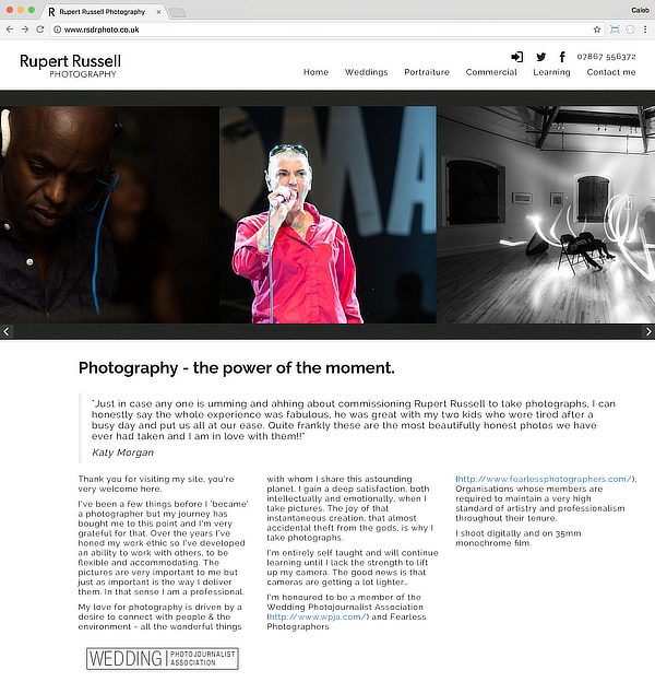 Screenshot of the RSDR Photography website